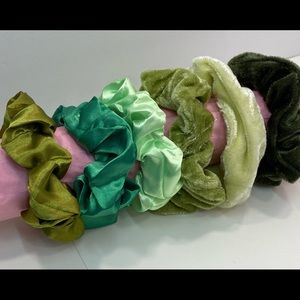 Scrunchies set of 6 shades of green